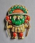 Hattie Carnegie Aztec Warrior - 1960's - Jade/Coral Lucite
