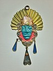 Copper-Brass Enamel Ceramic Aztec Warrior Head Pendant Mexico 1950's