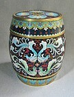Late Qing Cloisonne Barrel Form Lidded Box or Jar