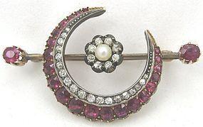 Belle Epoch Rubies & Diamonds & Gold Crescent Moon