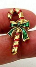 Candy Cane Lapel Pin or Tie Tack by Avon