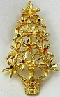 Gold-Tone Christmas Tree Pin, Rhinestones