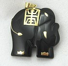 Black Onyx Elephant with 14k Gold Details