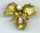 Orchid Pin, Diamond Pearl & Gold, Newark