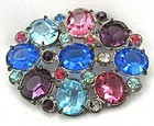 Juliana-Style Multi-Colored Stone Brooch