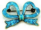 Blue Plique a Jour Bow Pin - 800 Silver
