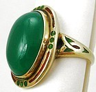 Beautiful Art Deco Chalcedony Enamel 14k Ring