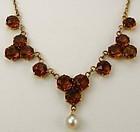 Rose Gold Citrine Cluster Necklace
