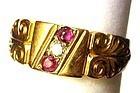 18k Ruby Diamond Gypsy Ring with Hallmarks
