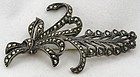 Sterling Marcasite Lily of the Valley Brooch