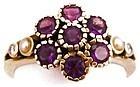 10k Amethyst & Diamonds Ring, Signed