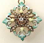 14k Green Enamel Diamond Pendant/Pin