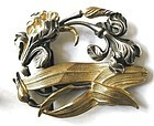 Gold & Silver Plate Iris Buckle � Unusual!