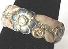 Nouveau Gold Enamel Ring-Diamonds, Flowers � REPRO