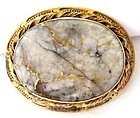 Antique Gold in Quartz Brooch
