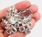 Clear Colorless Rhinestone Brooch � Juliana Attrib.