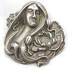 Sterling Lady with Lotus - Brooch or Pin