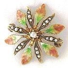 Flower Pin in 14k & Enamel, Signed