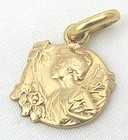 French Lavalier - 18k Lady with Irises - DROPSY