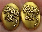 Golden Cuff Links - Ivy Leaves