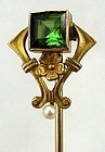 14k & Tourmaline Wild or Tudor Rose Stickpin