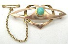Turquoise and Rose Gold Brooch � Entrelac