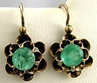 Emerald Buttercup Earrings � Rose Gold