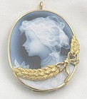 Girl with Flowers 18k Cameo Brooch/Necklace
