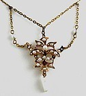 Bridal Festoon Necklace-Seed Pearls in Gold