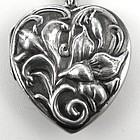 Large Sterling Locket with Flowers