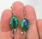 Peacock Glass Earrings in Sterling Silver