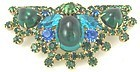Splendid Half Circle Brooch in Greens and Blues