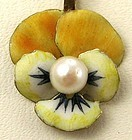 Pansy - Enameled Pendant & Chain