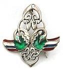 Enamel Celtic/Entrelac/Nouveau Style Birds Pin