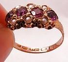 15k Garnet Pearl Ring