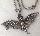 Halloween BAT!  Sterling on Sterling 24� Chain