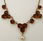 Citrine Rose Gold Cluster Necklace
