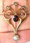 Garnet & Pearl Gold Nouveau Pendant, Marks
