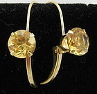 Bright Yellow Citrine Earrings in 14k Gold