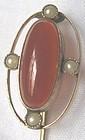 Carnelian & Seed Pearl Stick Pin