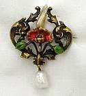 Bippart Griscomb & Osborn 14k Enamel Flower Pin