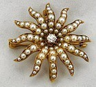 Diamond Seed Pearls 14k Starburst Necklace/Pin with Box