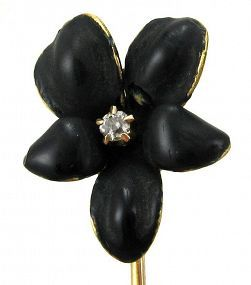 Diamond & Black Enamel Flower Stick Pin