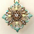 Diamond Green Enamel Pendant/Pin in 14k
