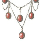 Red Coral & Silver Garland Jugendstil Necklace