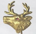 Elk Stick Pin in 14k Gold with Marks