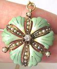 Diamond Enamel Ginkgo Leaf Pendant/Brooch