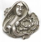 Sterling Lady with Lotus - Brooch or Pin - Unger
