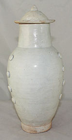 12�H Chinese Liao White Ware Porcelain Lidded Jar Vase