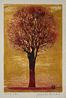 Japanese Woodblock Print Joichi Hoshi Evening Tree Red